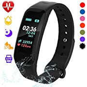 Fitness Tracker, Color Screen Activity Tracker Watch with Blood Pressure Blood Oxygen, IP67 Waterproof Weather Display Smart Band with Heart Rate Sleep Monitor Calorie Counter for Men,Women & Kids