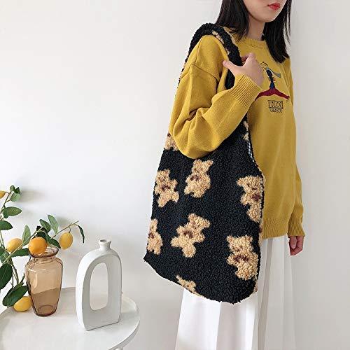 Bolso de lona de moda para invierno, imitación de pelo de cordero, bolso de hombro para mujer, diseño de oso de dibujos animados, bolso de la compra casual para mujer (color: negro, tamaño: normal)