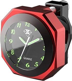 Reloj de Moto Resistente al Agua, Luminoso, 22-28 mm, Esfera Impermeable (Rojo)