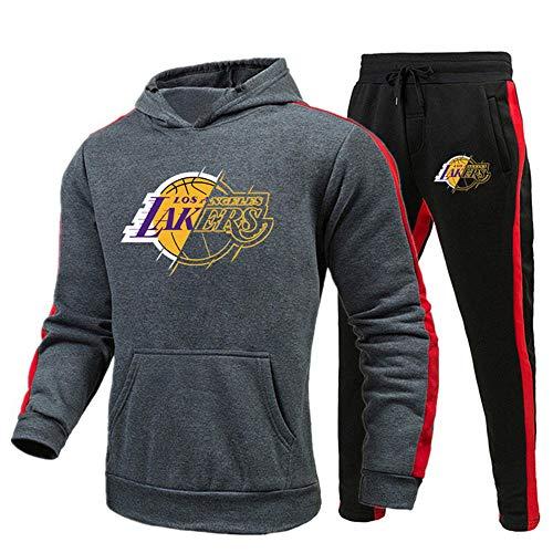 Conjunto de chándal deportivo para hombre, pantalones de chándal y sudadera con capucha, chándal de Lakers, sudadera con capucha para otoño e invierno para hombre, chándal informal-XXX-grande