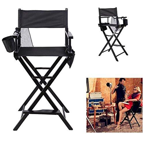 COMOTS Silla de maquillaje plegable portátil profesional resistente silla de directores ligera de madera maciza silla de artista plegable con bolsas laterales color negro