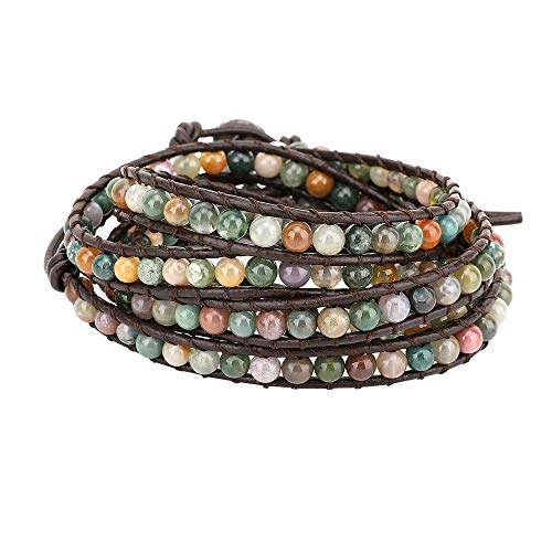 Emibele Leather Bracelet, Agate Bead Wrap Bracelet Handmade Jewelry Wrist Accessory for Women Lady Adult - Green