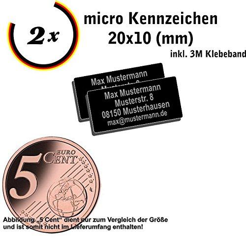 Gravierwerkstatt-Salomon 2X Micro Drohnen Kennzeichen 20x10mm, Drohnenplakette 0,4g mit hochwertiger Lasergravur und Klebestreifen drohnen Schild (20x10)