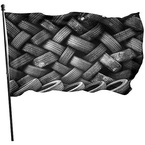 Fahne Alte Reifen Garten Flagge Beach Flags Rasen Haus Flagge Dekorative Fly Breeze Durable Garten Flagge Einfach Zu Bedienen Yard Flag Yard Banner Lebendige Willkommensdruck Im Freien 150X90Cm