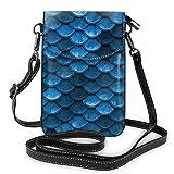 Borsa a tracolla in pelle sintetica di alta qualità, leggera custodia per smartphone con tracolla regolabile, bilance da sirena blu mare