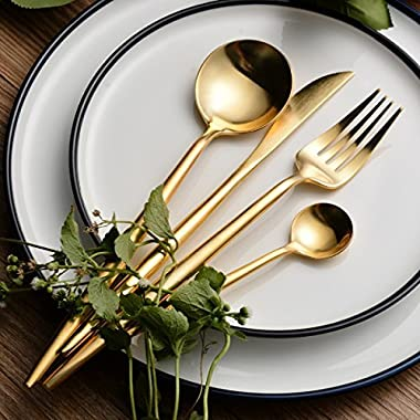 Cretee 4-Piece Stainless Steel Flatware Set 1 Including Fork Spoons Knife Tableware (Golden)