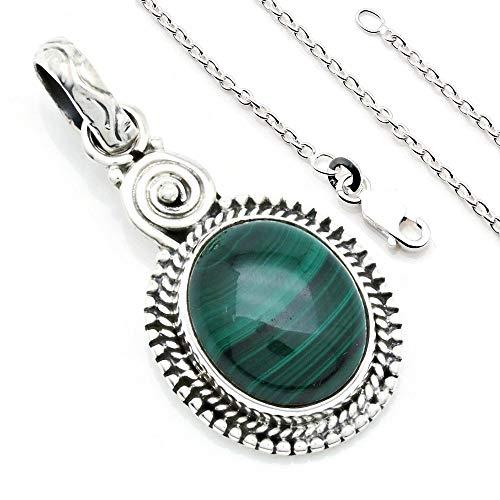 Kette mit Malachit Halskette Kettenanhänger 925 Silber grün (133-10 01), Kettenlänge:40 cm