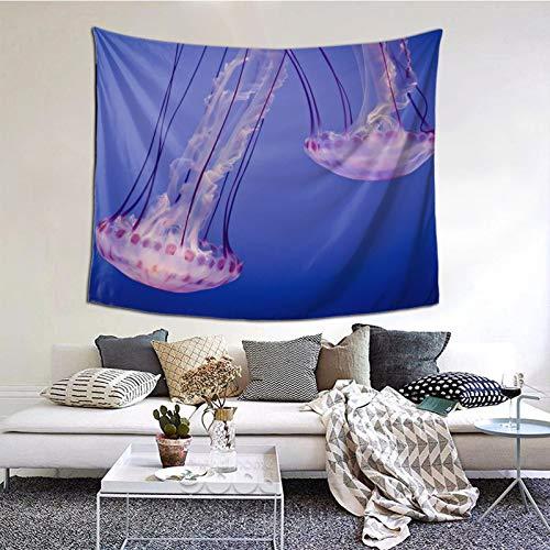 Perfect household goods Ellie Tapisserie murale vintage en microfibre Motif méduses 152 x 139 cm