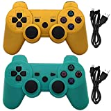 Ceozon PS3 Controller Wireless PS3 Remote Controller Playstation 3 Controller Wireless Bluetooth for Playstation 3 Remote with Charging Cables Gold + Green