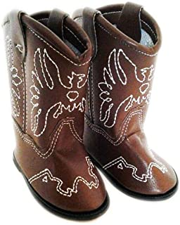 DollsHobbiesNmore Brown Leather Western Cowgirl Boots with Tassels Compatible with American Girl Dolls