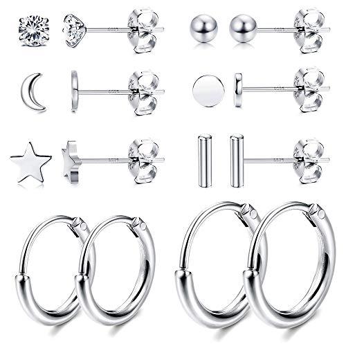 Milacolato 8 Pairs Sterling Silver Stud Earrings Set for Women Ball Dot CZ Star Moon Bar Tiny Earring Small Hoop Cartilage Earrings Set