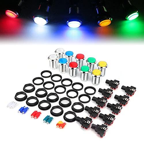 FECAMOS Botón, con botón de reinicio de luz LED de 5 V para Consola de Juegos para Arcade