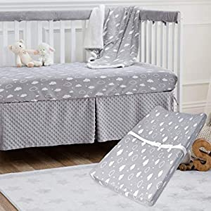 American Baby Company Heavenly Soft Chenille Sherpa Receiving Blanket, Crib Sheet & Changing Pad Cover Set, 3D Gray, for Boys & Girls
