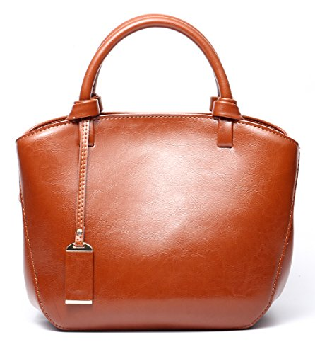 Covelin Genuine Leather Handbag Womens Retro Middle Size Tote Shoulder Bag Brown