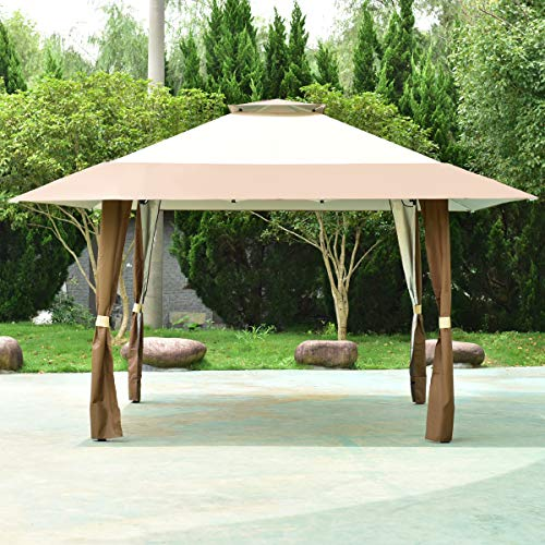 COSTWAY 4 x 4m Pop-Up Outdoor Gazebo, Waterproof Pavilion Canopy Tent with 2-Tier Roof, Carrying Bag, Large Marquee Shelter for Patio, Backyard, Garden, Event, Party (Brown+Beige)