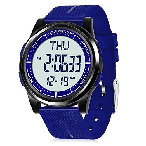WIFORT Reloj Digital Hombre Mujer, 5ATM Impermeable Deportivo Relojes de Pulsera Esfera Grande con Cronómetro, Cuenta Regresiva, Alarma, Tiempo Dividido, Zone Horaria Dual, Ultra Delgado Unisex, Azul