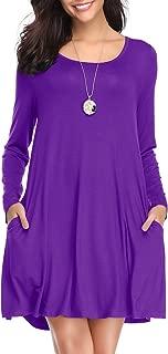 Women's Long Sleeve Swing Tunic Casual Pockets Loose T Shirt Dress
