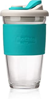 MOCHIC CUP Reusable Coffee Cup Glass Travel Mug with Lid and Non-slip Sleeve Dishwasher and Microwave Safe Portable Durable Drinking Tumbler Eco-Friendly and BPA-Free (Mint Green,16 OZ)