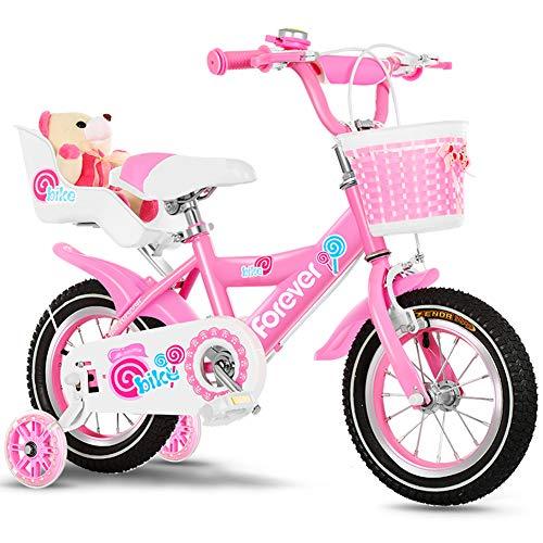 FYLY-14 Pulgadas Bicicleta Infantil para Niños y Niñas con Ruedines de Entrenamiento, Marco de Acero Al Carbono Bicicleta con Frenos de Doble Disco, para Niños de 2-5 Años,B