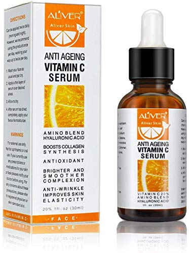 PREMIUM VITAMIN C SERUM for Face with Infused Amino Acid, Hyaluronic Acid, Retinol - POWERFUL Natural Anti Ageing, Anti-Wrinkle Facial Serum, Boosts Collagen Helps Erase Fine Lines Even Out Skin Tone