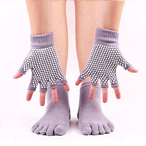 WJCCY Mujeres Anti-patín de Yoga Calcetines establecidos Guantes de Yoga Antideslizantes Antideslizantes Puntos de Silicona de Cinco Dedos Masaje de Toe Deportivo Calcetines de Tobillo Pilates