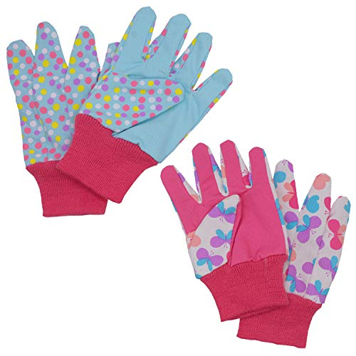 Kids Gardening gloves for age 5-6, age 7-8, 2 Pairs Child Garden Working Gloves for girls boys, Dot & Butterfly & Ladybird Print (Medium (age 7-8), Pink (butterfly + dot))