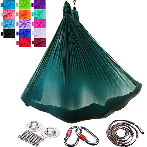 Viktion Authentisch 5 * 2.8m Aerial Yoga Fitness Tuch Set Anti Gravity Yoga Swing Aerial Yoga Hängematte (dunkelgrün)