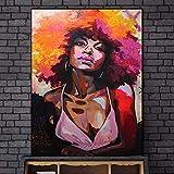 YuanMinglu Afrikanische Frauen wandbild leinwand wandkunst Dekoration Druck Graffiti wandkunst Bild Wohnzimmer Dekoration rahmenlose malerei 60x90 cm