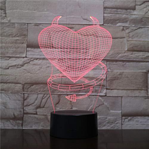 Luz de Noche Ilusión óptica Lámpara 3D 7 Colores Cambio de Control táctil Luz de Mesa LED Lámpara para Dormir Decoración del hogar Cumpleaños/Navidad/Regalos de Fiesta para niños (1606)