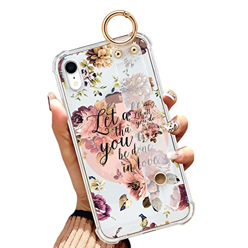 Illians iPhone Xr 6.1 Inch 2018 Clear Anti-Yellow Slim Phone Case Gasbag Full Protective Cover Christian Quotes Bible Verse Flower Floral Shell with Wrist Strap for iPhone Xr