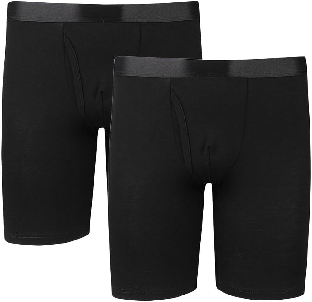 Y2Y2 Men's Modal Underwear Long Leg Boxer Briefs 2-Pack