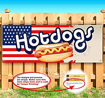 Hot Dogs 13 oz Banner Heavy-Duty Vinyl Single-Sided with Metal Grommets