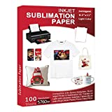 Sublimation Paper 100 Sheets 8.5 x 11 Inches, for Any Inkjet Printer with Sublimation Ink Epson, Sawgrass, Heat Transfer Sublimation for Mugs T-shirts Light Fabric