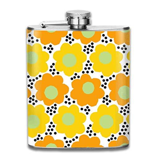 Niedliche Punkt und Blumen Muster Premium 304 Edelstahl Hüftflasche Personalisierte Flasche Tolles Geschenk 7 Unzen Personalisierte Lustige Flasche