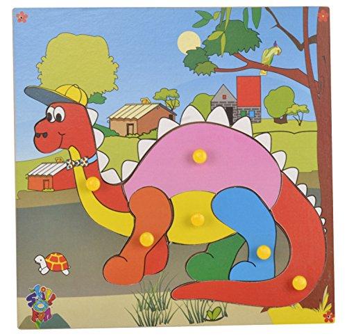 Skillofun - TPS-30 Wooden Theme Puzzle Standard Dinosaur Knobs, Multi Color