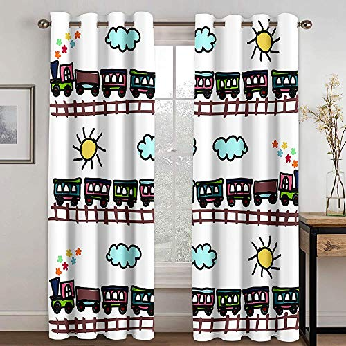 CLYDX Blackout Curtains Thermal Insulated Window Cartoon Train Blocked Curtain for Home Decoration Thermal Curtains Drop for Kitchen Living Room Bedroom, Size: 43'x85' x 2 Panel