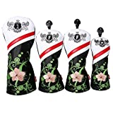 LONGCHAO Golf Head Covers for Golf Clubs, PU Leather Vintage Design Ladies Golf Club Driver Headcover Set with Numbered for 1 2 3 4 5 6 7 X UT/Hybrid/Fairway Wood 4 pcs