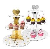 Cupcake Ständer mit 3 runden Ebenen,VINLINGDAI Ständer für Muffins aus pappe, ideal für Hochzeitsfeiern (2 Stück)