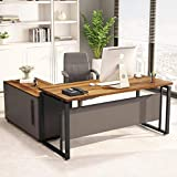 "LITTLE TREE L-Shaped Computer Desk, 55 inches Executive Desk Business Furniture with 39"" File Cabinet..."