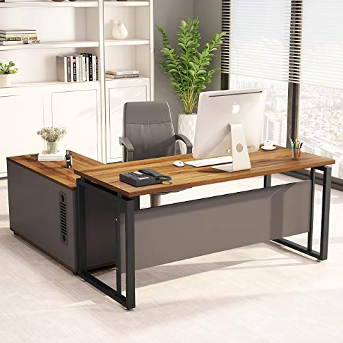 "LITTLE TREE L-Shaped Computer Desk, 55"" Executive Desk Business Furniture with 39"" File Cabinet Storage Mobile Printer Filing Stand for Home Office Desk Walnut"