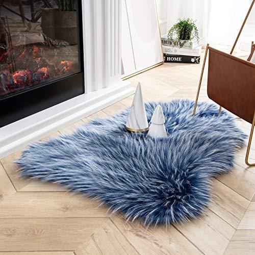 Ashler Faux Fur Rug Soft Faux Peacock Fluffy Rugs Luxurious Carpet Rugs Area Rug for Bedroom, Living Room Carpet Blue 2 x 3 Feet