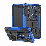 Sunrive Hülle Für Nokia 6 2018 / Nokia 6.1, Schutzhülle Etui Case Cover Hybride Silikon Stoßfest Handyhülle Zwei-Schichte Armor Design Tasche mit schlagfesten mit Ständer Slim Fall(blau)
