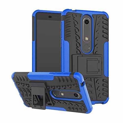 Sunrive Hülle Für Nokia 6 2018 / Nokia 6.1, Schutzhülle Etui Hülle Cover Hybride Silikon Stoßfest Handyhülle Zwei-Schichte Armor Design Tasche mit schlagfesten mit Ständer Slim Fall(blau)