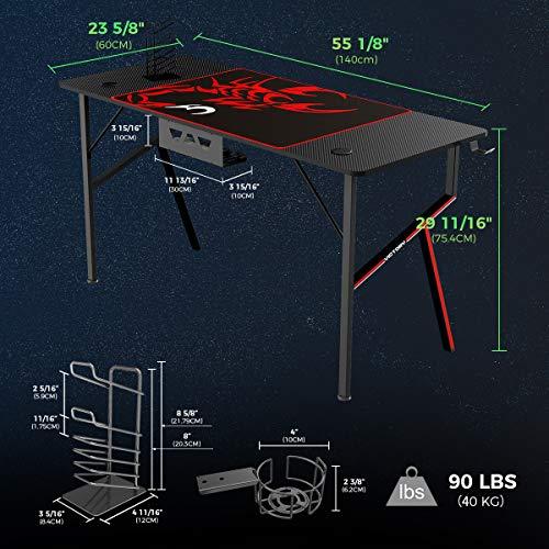 EUREKA ERGONOMIC Gaming Tisch K55 Gaming Schreibtisch Gaming Computertisch PC Schreibtisch mit Getränkehalter und Kopfhörerhalter 140 * 60 cm Schwarz 4