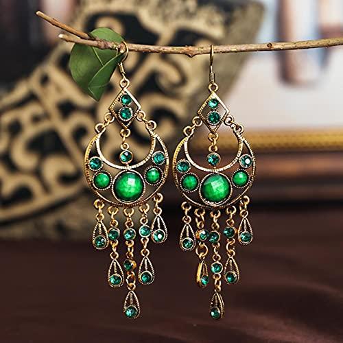 CXWK Pendientes de Cuentas de Diamantes de imitación Verdes Retro, joyería Gitana de la India, Pendientes Colgantes de Borla Hueca de Metal Dorado étnico Bohemio para Mujer