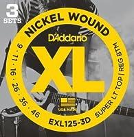 D'Addario EXL125-3D 3セットパック Super Light Top/Regular Bottom (09-46) ダダリオ エレキギター弦 ニッケル EXL-125-3D 【国内正規品】