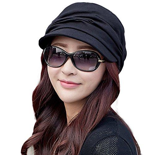 Comhats Schirmmütze Barett Mütze Damen mit Visor Damenmütze Sommer schwarz