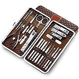 Profesional Set de Manicura Pedicura, Cortaúñas Hecho de Acero Inoxidable- Para Manicura y Pedicura Limpiador Cutícul Kit, Juego Completo de 21 Piezas con Caja de Cuero (Brown)
