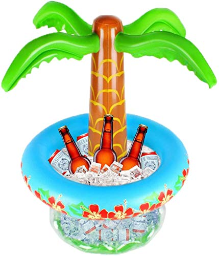 LATERN 65CM Aufblasbare Palme Coolerz, Aufblasbare Getränkekühler Schwimmender Poolkühler für Sommerschwimmparty Hawaiian Tropical Party Strandthema Dekoration