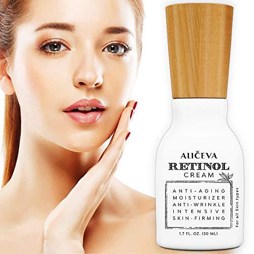 Aliceva Retinol Moisturizer Cream for Face and Eye Area - 2.5% Retinol and Hyaluronic Acid, Organic Jojoba Oil, Green Tea - Best for Anti Wrinkle, Anti Aging, Fine Lines - 50ML